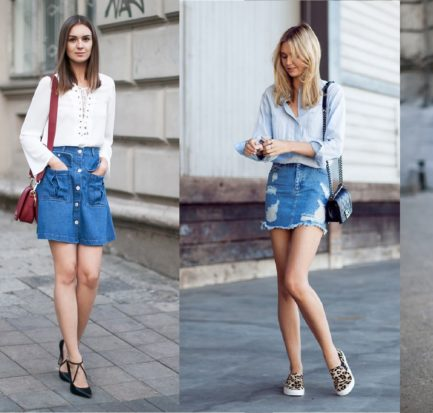 Chic Style Denim Skirts
