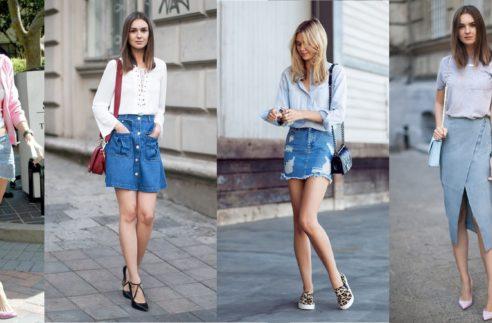 Chic Style Denim Skirts