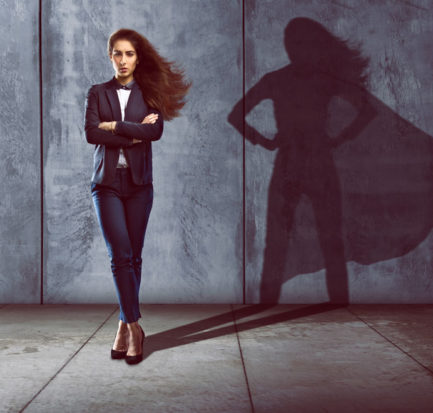 Woman who is actually a super hero