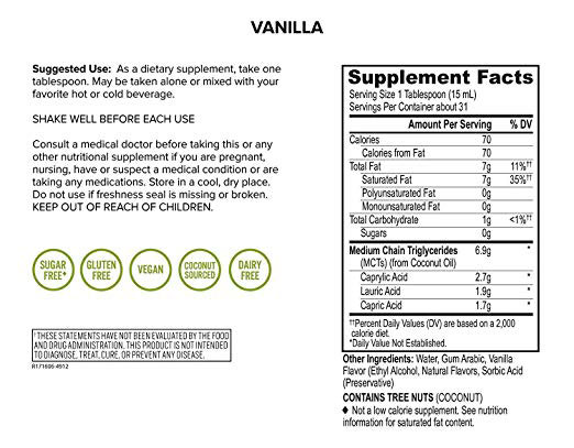 Onnit Emulsified MCT Oil nutrition facts