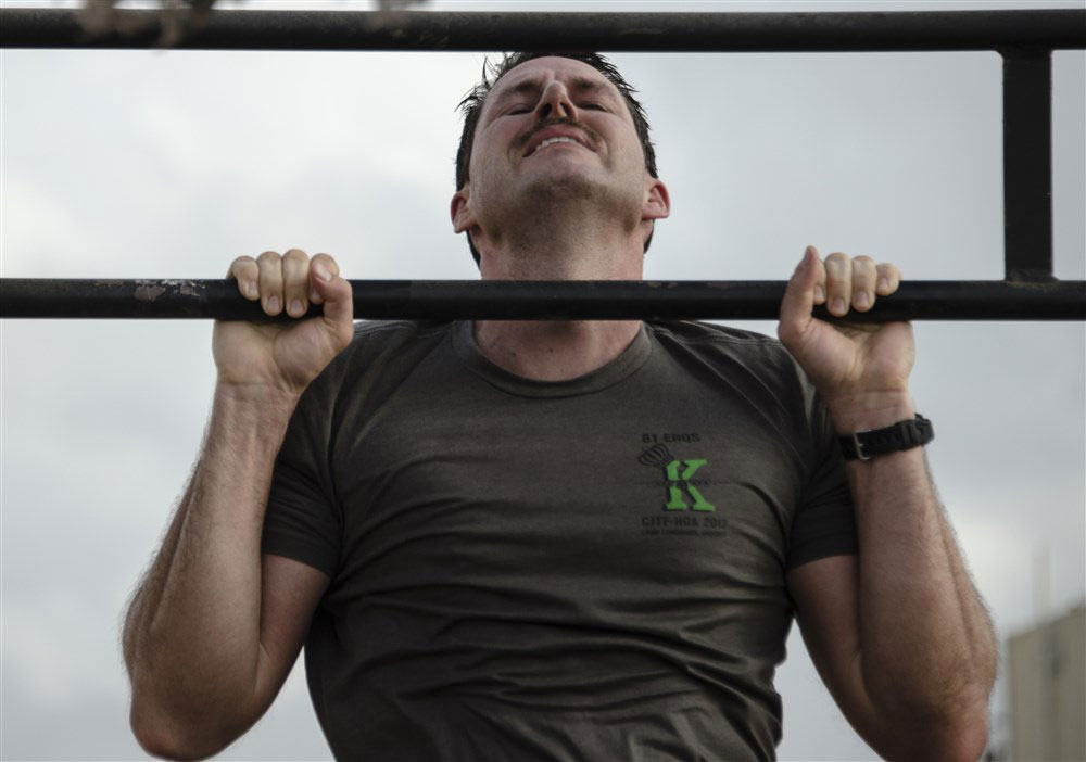 Man performing a chin up