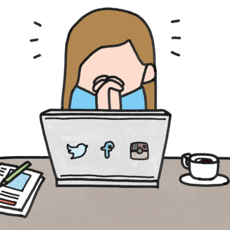Cartoon of girl anxious while on social media