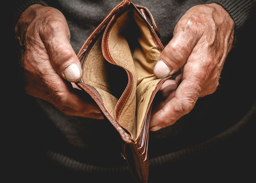 Empty Wallet Hands Elderly Man Poverty Stock Photo