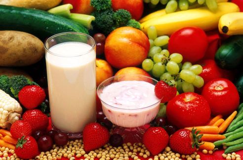 Fruits, vegetables and milk