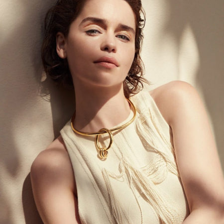 Emilia Clarke wears Marina Moscone dress and Bottega Veneta necklace
