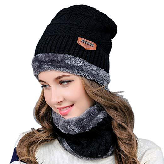 2-Pieces Winter Knit Hat