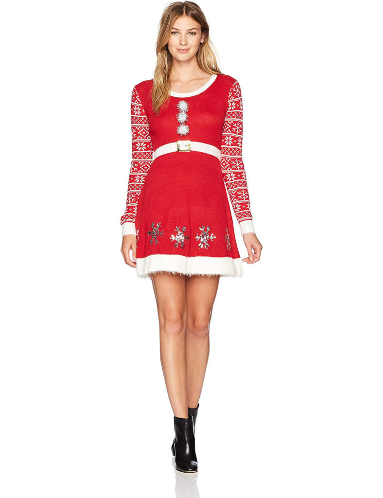 Allison Brittney Women's Christmas Snow Flake Skater Dress with Long Sleeves