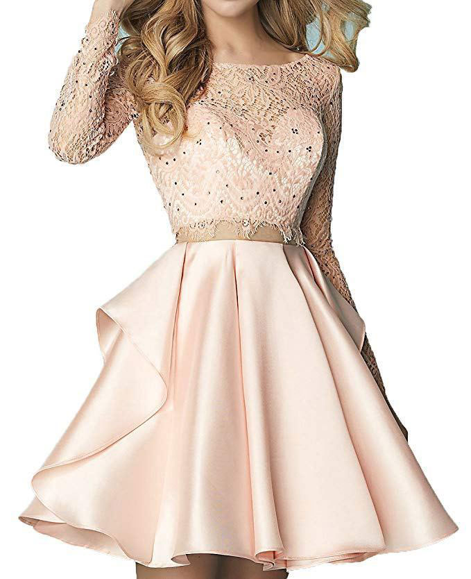 Long Sleeve Two Piece Short Homecoming Dress