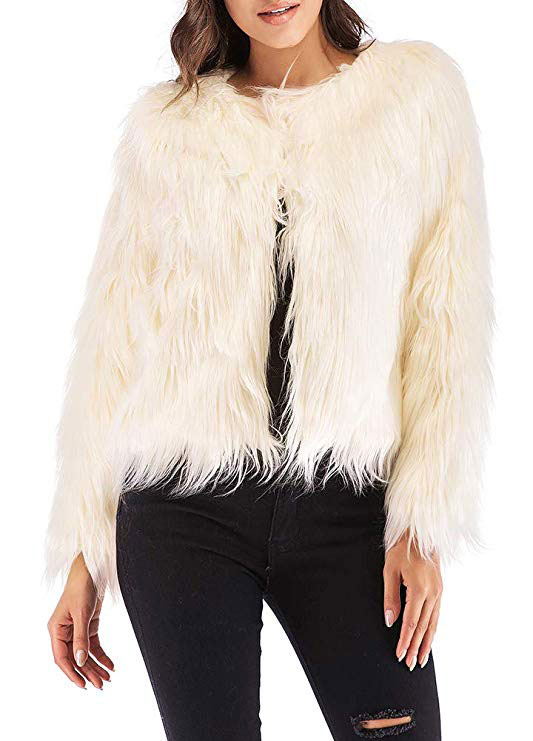 Anself Women's Shaggy Faux Fur Coat Solid Color Long Sleeve Short Jacket