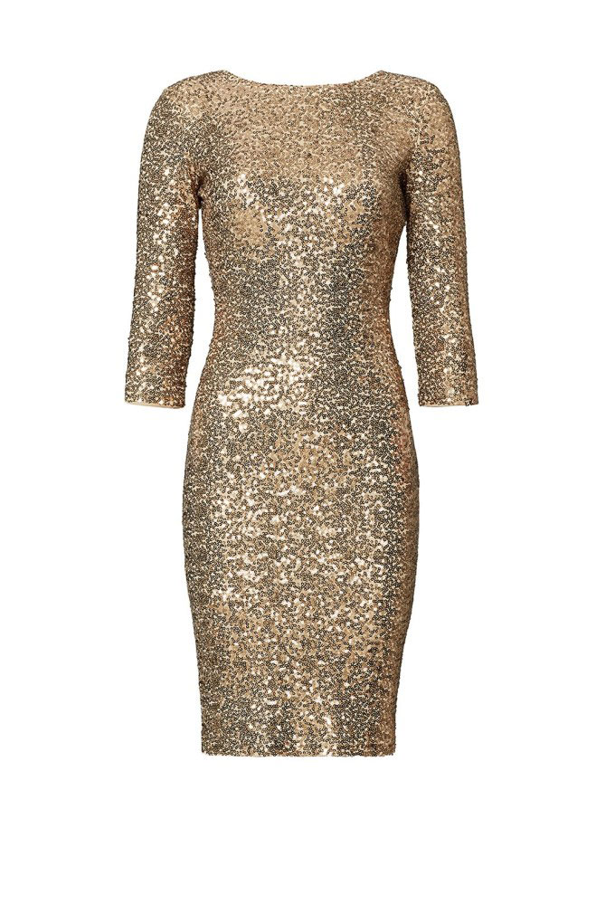 Badgley Mischka Gold Sequin Sheath