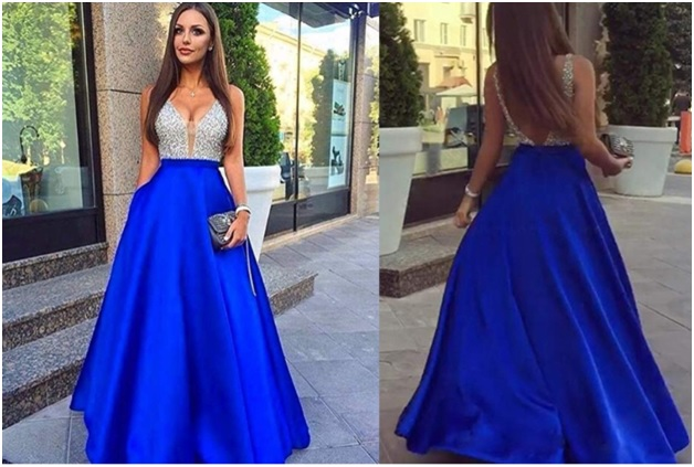 Beaded crystal prom dress