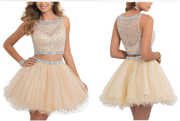 Beaded tulle short prom gown