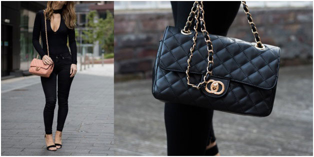 woman wearing Chanel bag