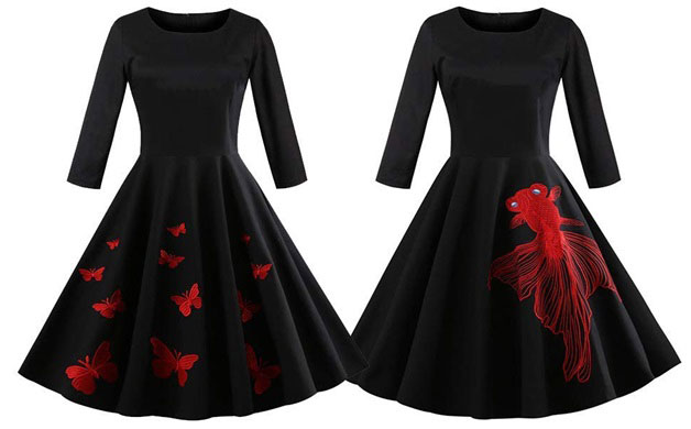 Black dress with butterfly-fish print