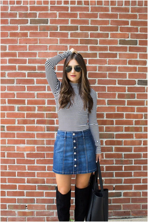Button down the jean skirt