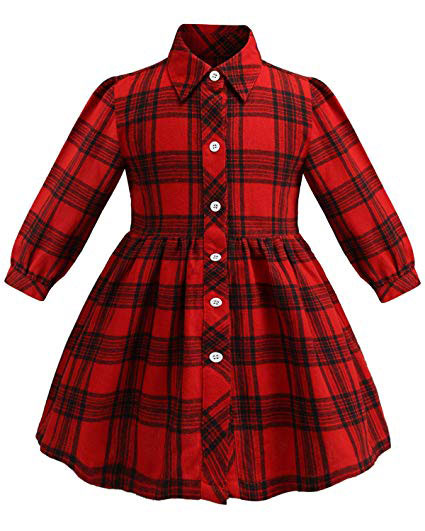 Button pocket plaid casual summer dress
