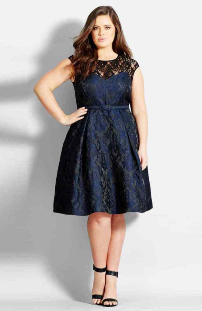 City Chic Lace Neck Brocade Dress