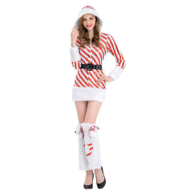 Candy Cane Hooded Dress Furry Santa Costume