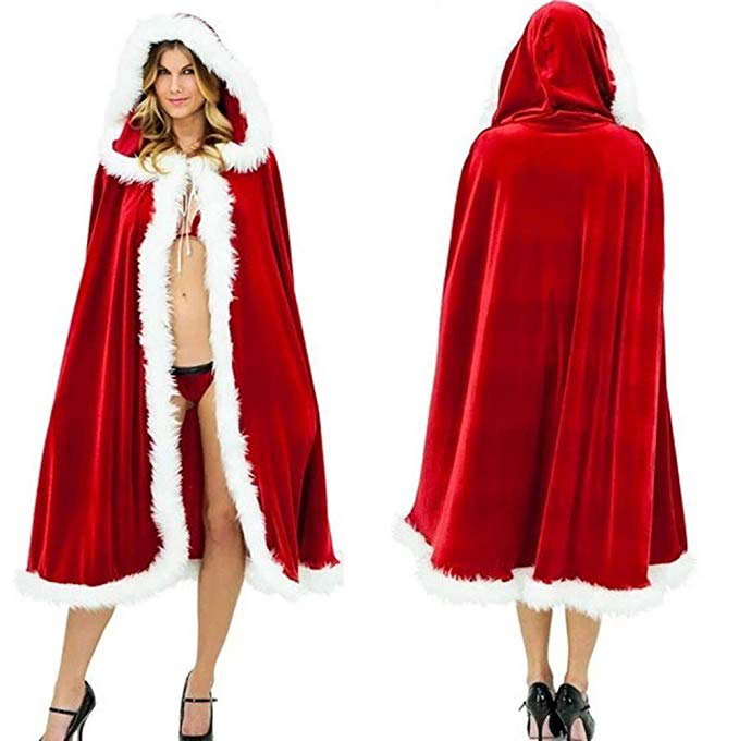 Long Red Hooded Cape Cloak