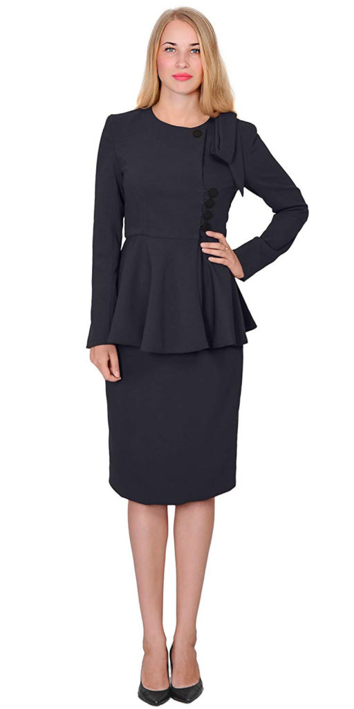 Classy Vintage Peplum Business Church Skirt Suit Dress