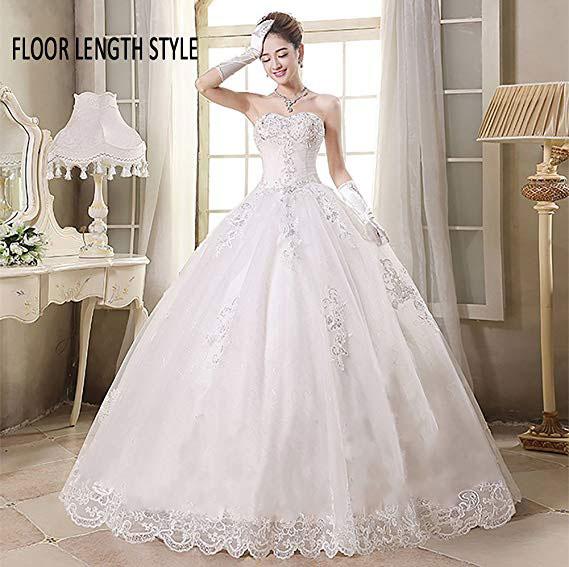 White Beads Bridal Dress