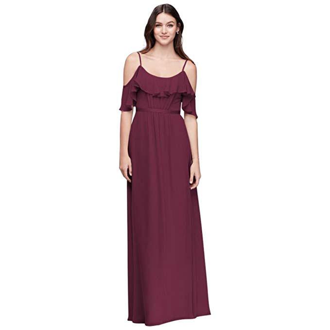 David's Bridal Crinkle Chiffon Cold-Shoulder Bridesmaid Dress