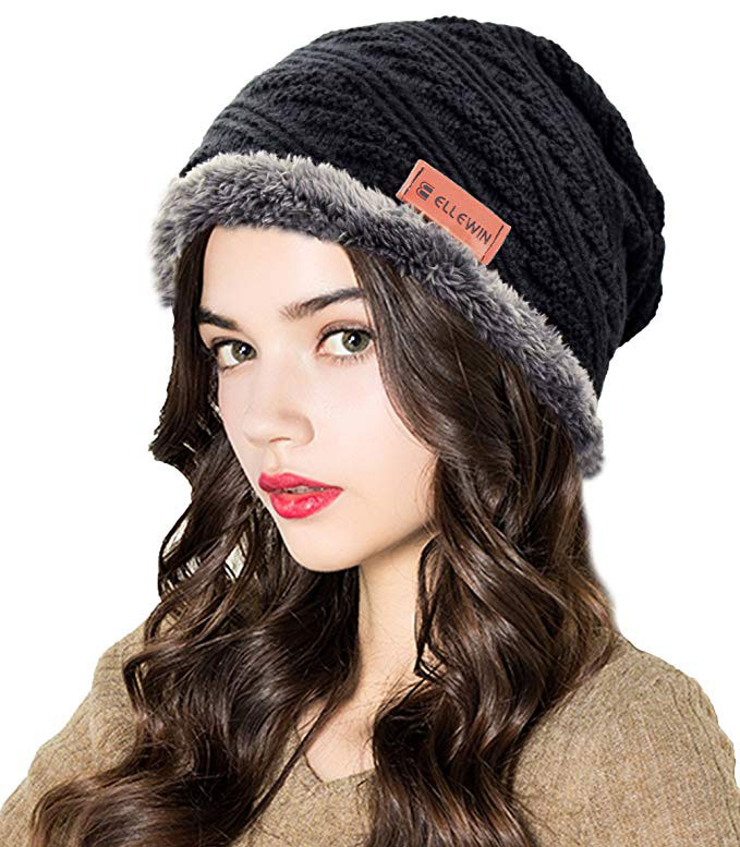 ELLEWIN Winter Slouchy Beanie Hat Scarf Set Ski Skull Cap with Fleece Linning