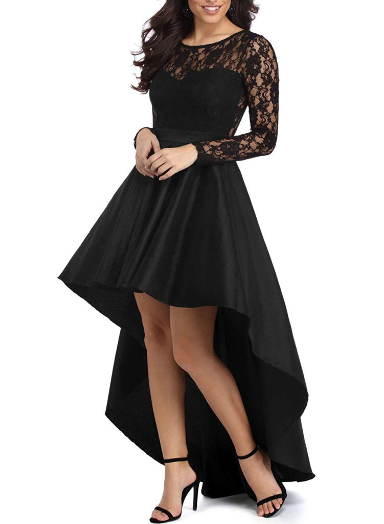 Elapsy Lace High Low Satin Dress