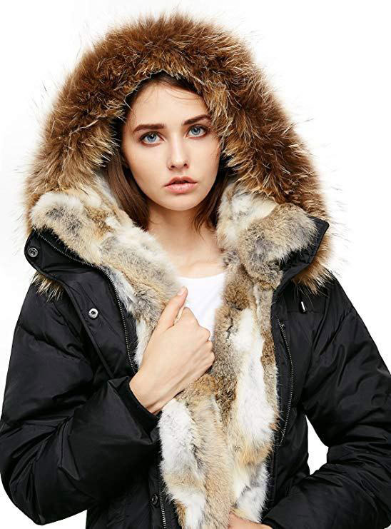 Down Coat with Real Raccoon Fur Hooded Parka Jacket