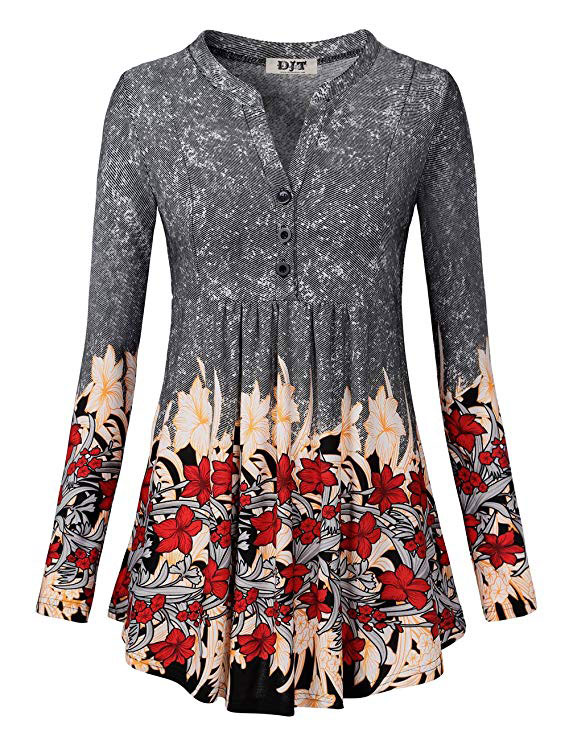 Flared casual floral tunic top
