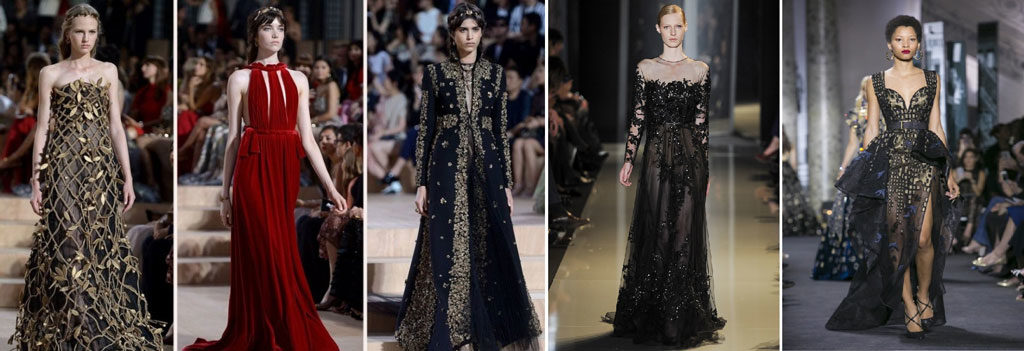 large collection of haute couture dresses