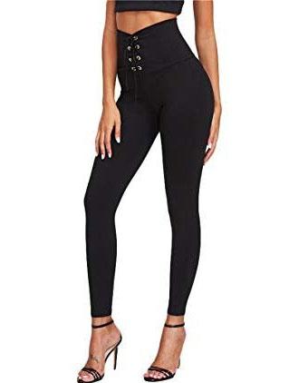 High waist eyelet strap skinny pants