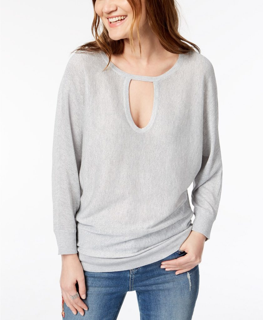 N.C. Metallic Keyhole Sweater