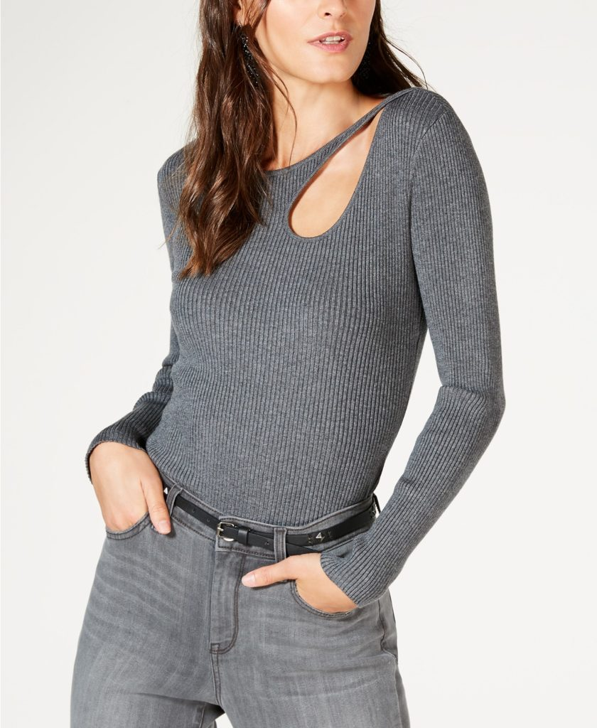 N.C. Ribbed Cutout Sweater