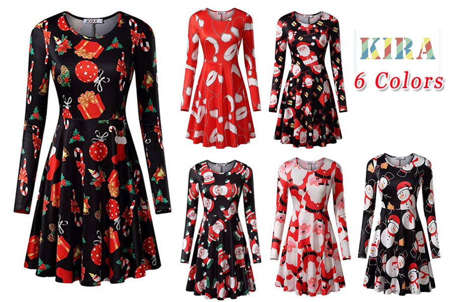 Xmas Gifts Print Flared Swing A Line Dress