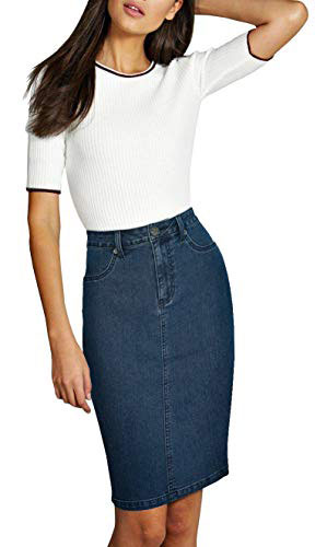 Knee length chambray flared jean skirt