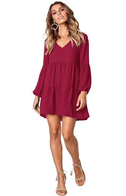 Long Sleeve Tunic Dress Casual Ruffle