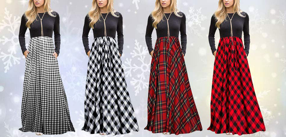 Plaid Long Sleeve Empire Waist Full Length Maxi Dress With Pockets