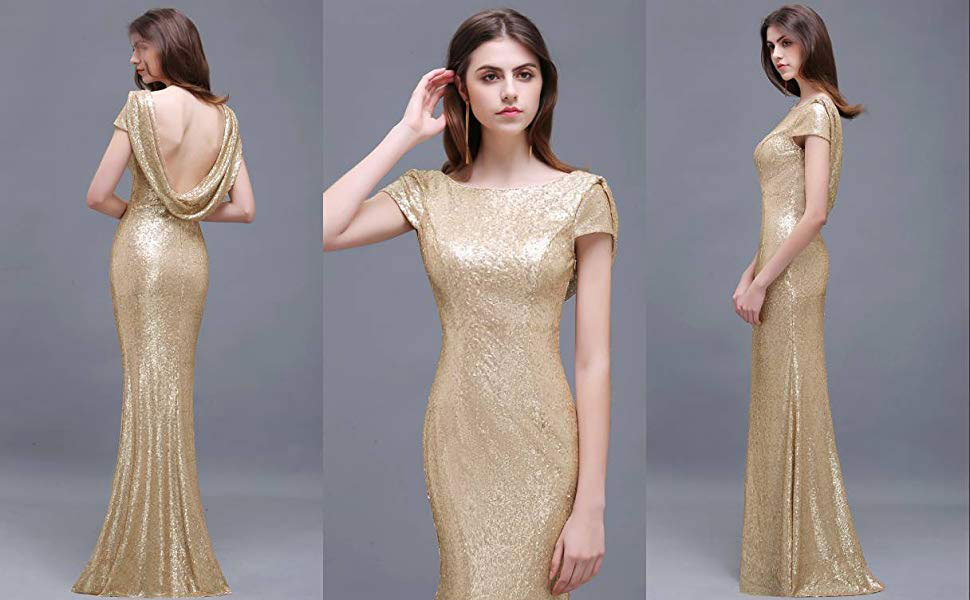 MisShow Women Sparkly Rose Gold Long Sequins Bridesmaid Dress