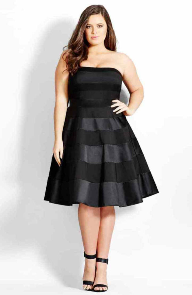 City Chic Miss Shady Stripe Strapless Fit & Flare Party Dress