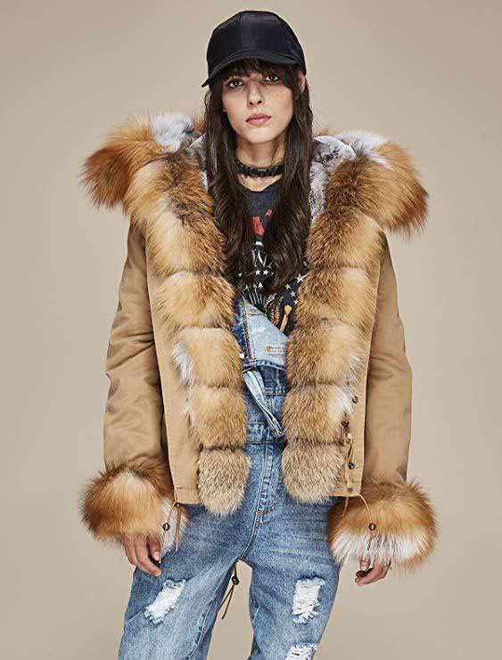 Luxurious Real Fox Fur Winter Coat