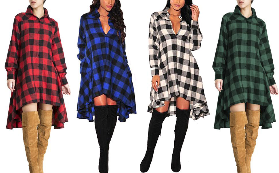 OLRAIN Plaid Irregular Hem Casual Shirt Dress
