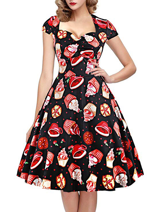 Polka Dot Sugar Skull Vintage Swing Retro Rockabilly Cocktail Party Dress