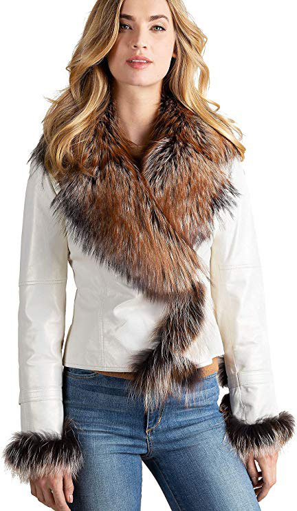 Overland Sheepskin Co Celestine Lambskin Leather Moto Jacket with Fox Fur Trim