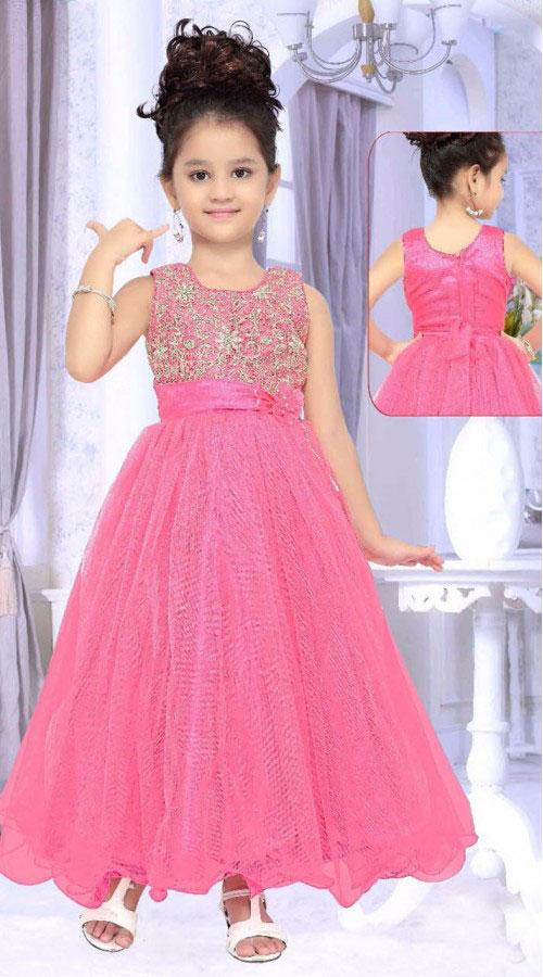 Pink Net A-Line Dress