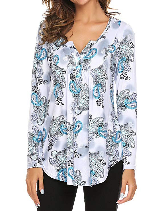Printed Long Sleeve Henley V Neck Pleated Casual Flare Tunic Blouse Shirt