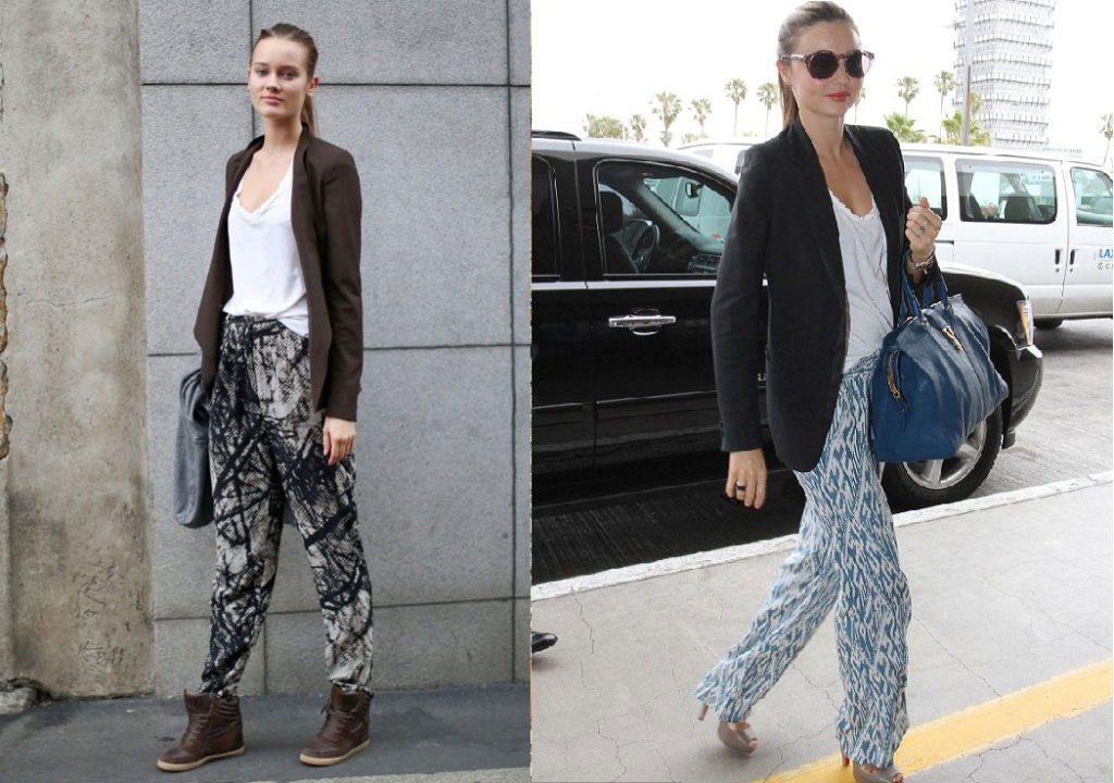 Miranda Kerr wearing pajama pants and blazer