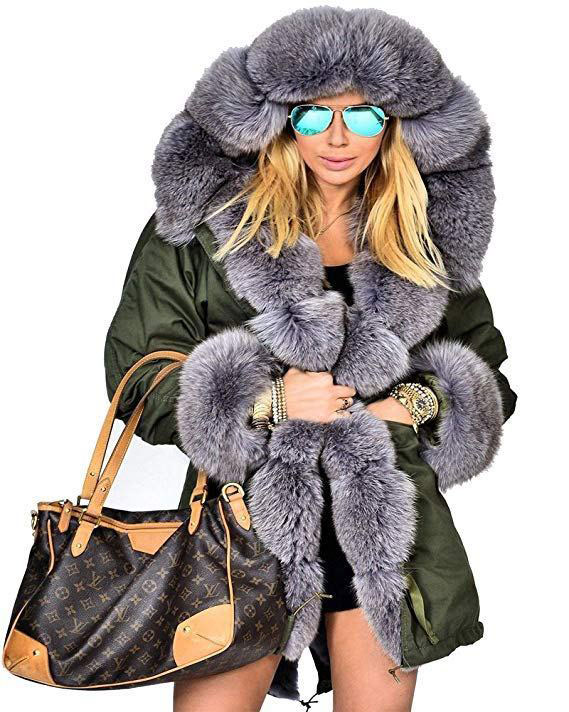 Thicken Faux Fur Hooded Parka Jacket Coat