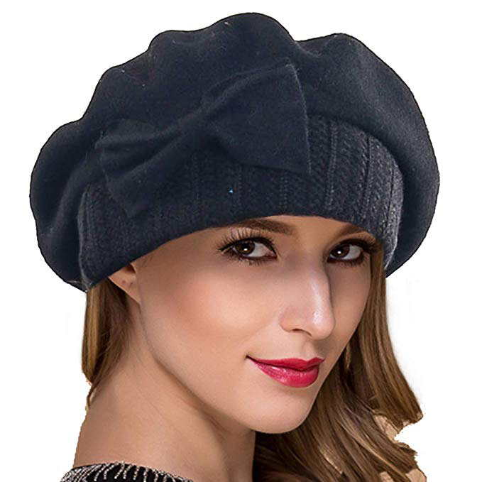 Ruphedy Women French Beret Knit Wool Beret Beanie Winter Hats