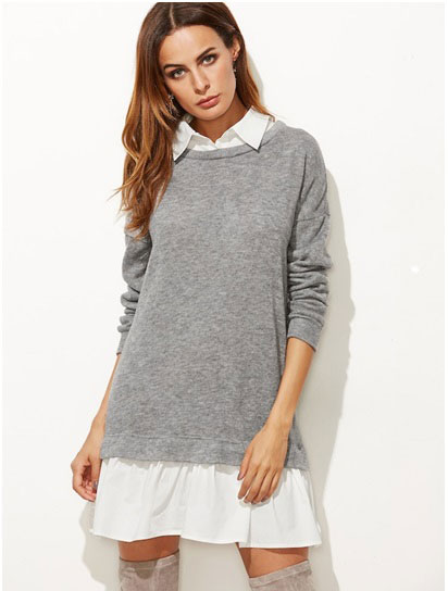 SHEIN Contrast 2 In 1 Sweatshirt Dress